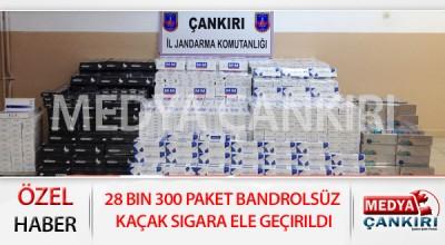 28 bin 300 paket bandrolsüz kaçak sigara ele geçirildi